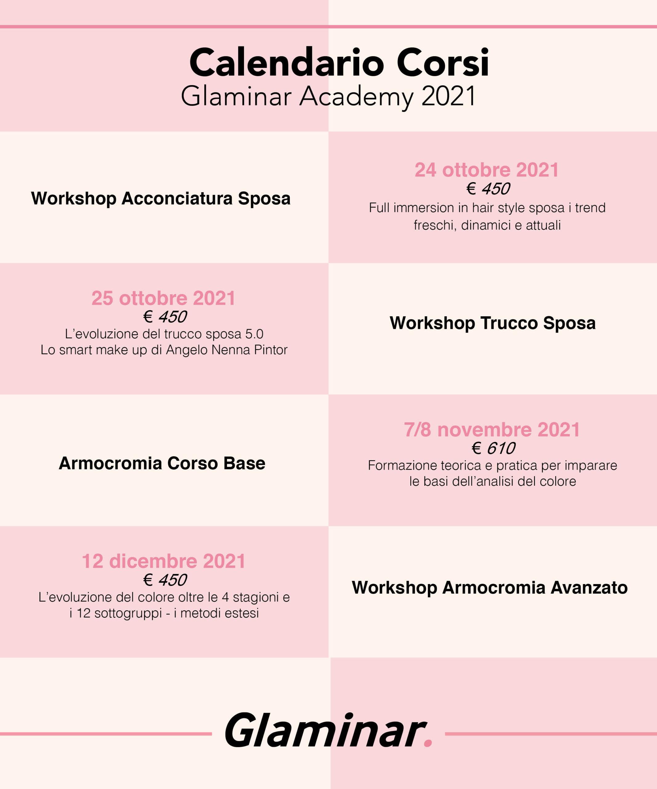 Calendario corsi armocromia 2021
